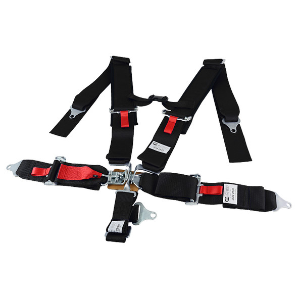 Universal 5-Point Nylon Straps Latch & Link Safety Belt Racing Harness (Black)
