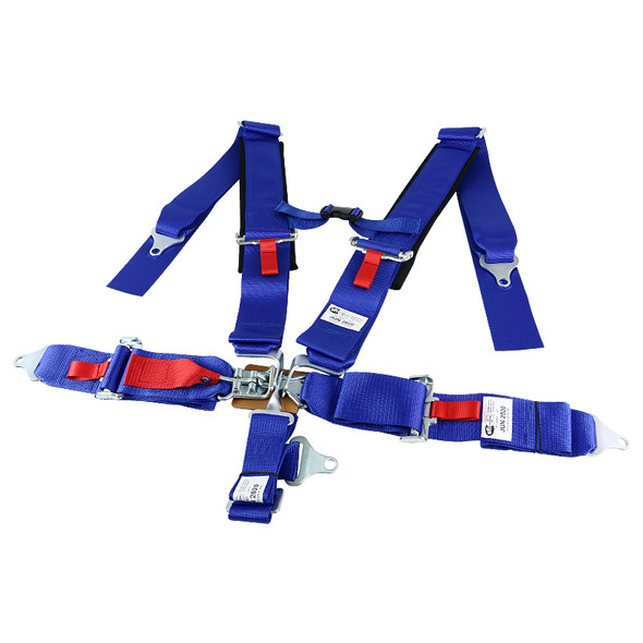 Universal 5-Point Nylon Straps Latch & Link Safety Belt Racing Harness (Blue)