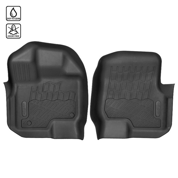2009-2014 Ford F-150 Super Crew Cab All Weather Heavy Duty Rubber Floor Mats - 2 PCS