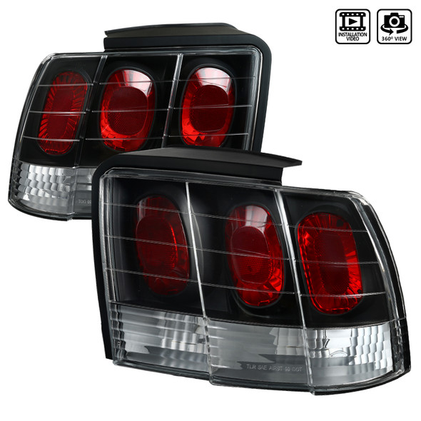 1999-2004 Ford Mustang Crystal Altezza Tail Lights (Matte Black Housing/Clear Lens)