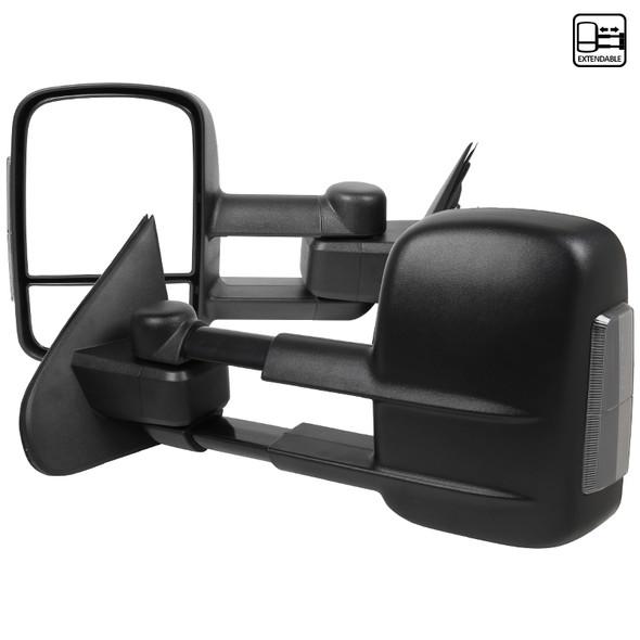 2014-2018 Chevrolet GMC Silverado/Sierra Manual Black Towing Side Mirrors w/ Smoke LED Signal Light