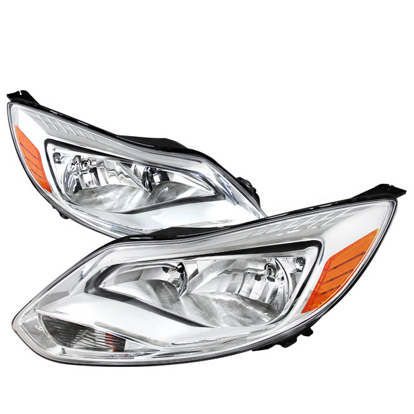 2012-2014 Ford Focus Clear Lens Factory Style Headlights w/ Amber Reflectors (Chrome Housing/Clear Lens)