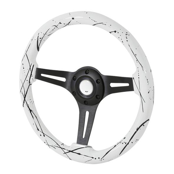 """350mm White & Black 2"""" Deep Dish Aluminum 3-Spoke Wooden Steering Wheel (Black)"""