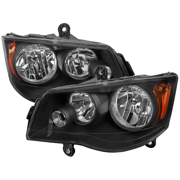2011-2018 Dodge Chrysler Grand Caravan/Town & Country OE Replacement Headlights (Matte Black Housing/Clear Lens)
