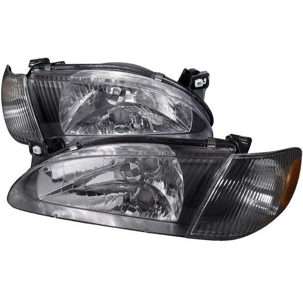 1998-2000 Toyota Corolla Clear Lens Headlights & Corner Lights w/ Amber Reflector