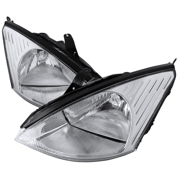 2000-2004 Ford Focus Factory Style Headlights (Chrome Housing/Clear Lens)