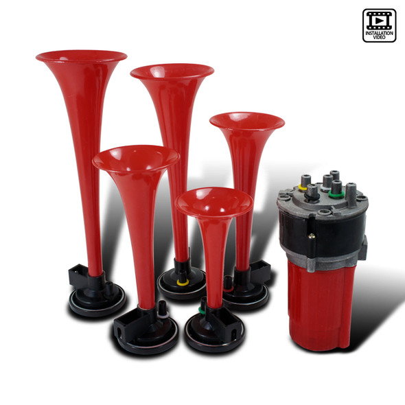 """""""Dixie"""" Red Air Horn Trumpets x5 w/ Compressor Kit"""