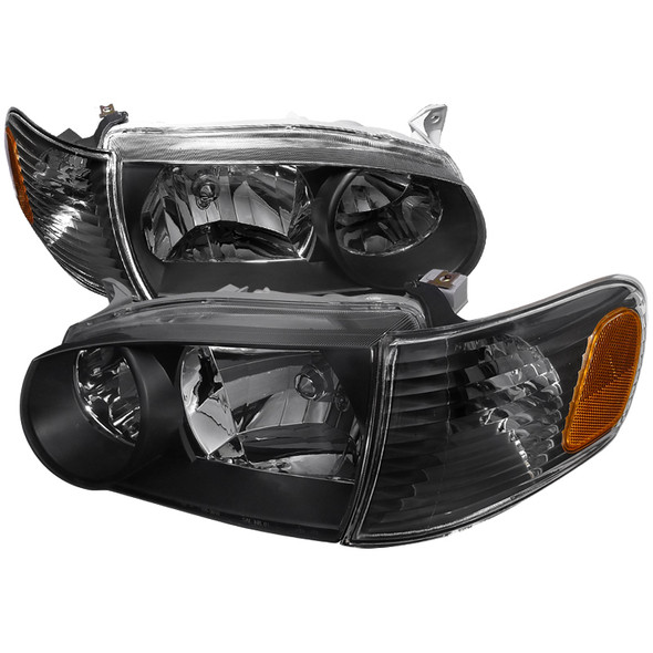 2001-2002 Toyota Corolla Black Housing Clear Lens Headlights & Corner Lights w/ Amber Reflector