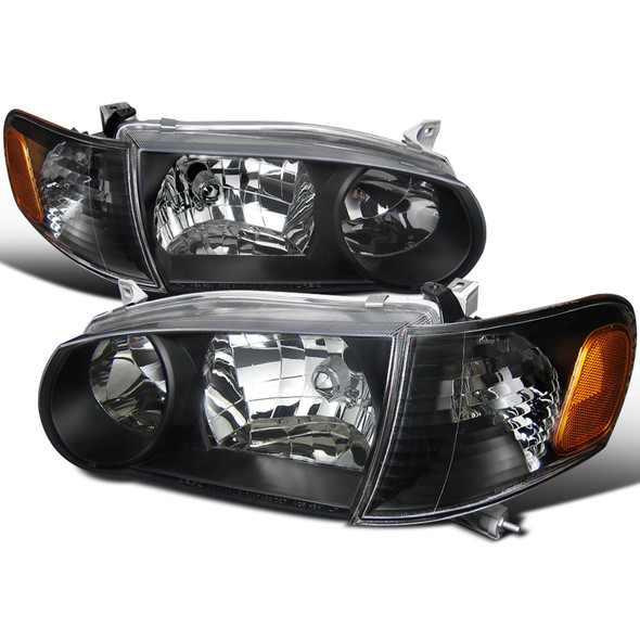2001-2002 Toyota Corolla Clear Lens Headlights & Corner Lights w/ Amber Reflector