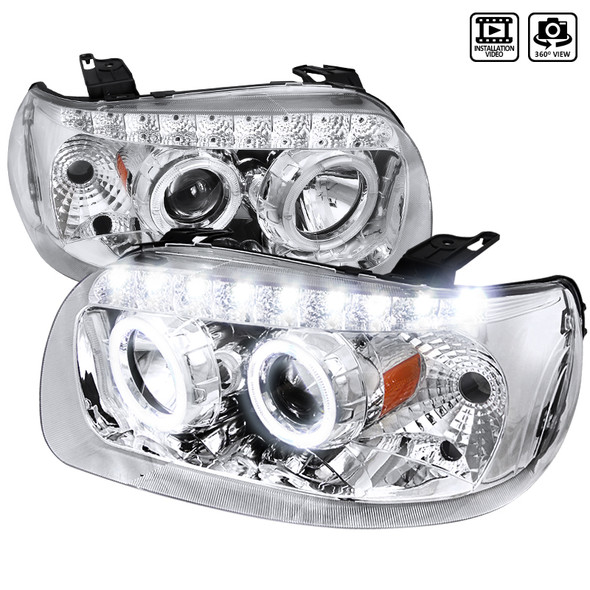2005-2007 Ford Escape Dual Halo LED Projector Headlights (Chrome Housing/Clear Lens)