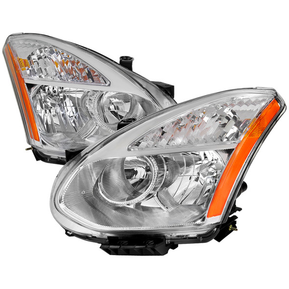 2008-2015 Nissan Rogue OE Replacement Headlights w/ Amber Reflectors (Chrome Housing/Clear Lens)