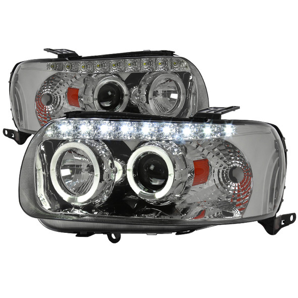 2005-2007 Ford Escape Chrome Housing Smoke Lens Dual Halo Projector Headlights w/ SMD LED DRL