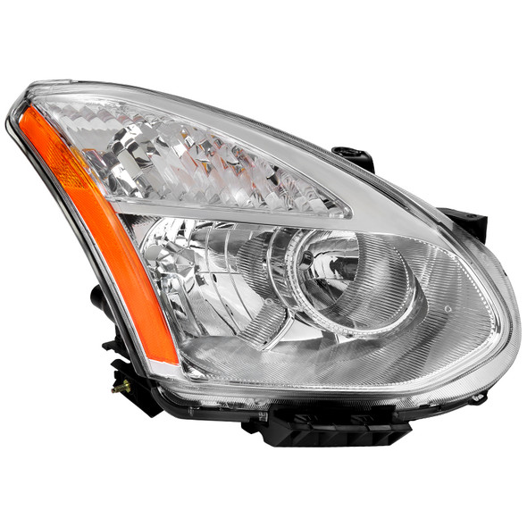 2008-2015 Nissan Rogue Clear Lens Headlight w/ Amber Reflector - Right/Passenger Side Only