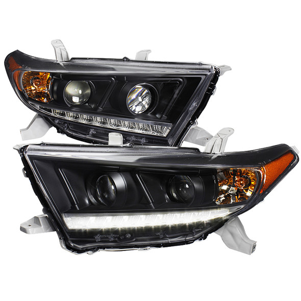 2011-2013 Toyota Highlander JDM Style Projector Headlights w/ SMD LED DRL & Bulbs (Matte Black Housing/Clear Lens)