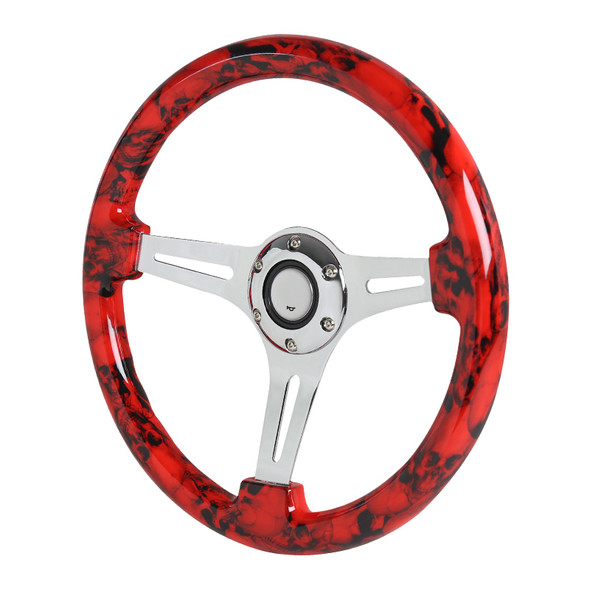 "350mm 3-Spoke 6-Bolt 2"" Deep Dish Wooden Steering Wheel (Red)"
