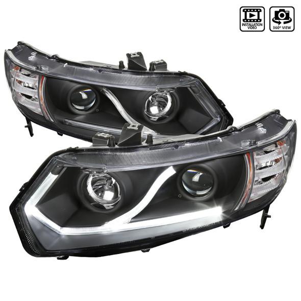 2006-2011 Honda Civic Coupe LED Halo Strip Projector Headlights (Matte Black Housing/Clear Lens)