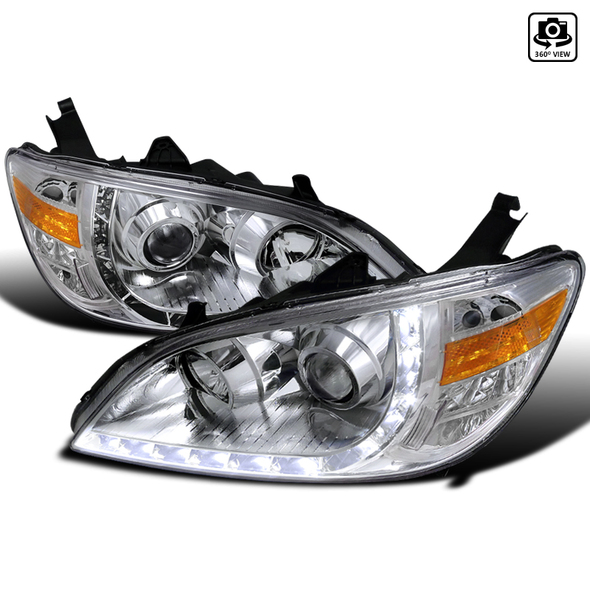 2004-2005 Honda Civic LED Projector Headlights (Chrome Housing/Clear Lens)