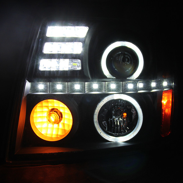 2002-2006 Cadillac Escalade LED Dual Halo Projector Headlights (Matte Black Housing/Clear Lens)
