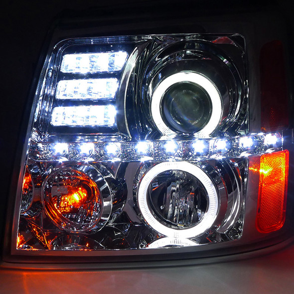 2002-2006 Cadillac Escalade LED Dual Halo Projector Headlights (Chrome Housing/Clear Lens)