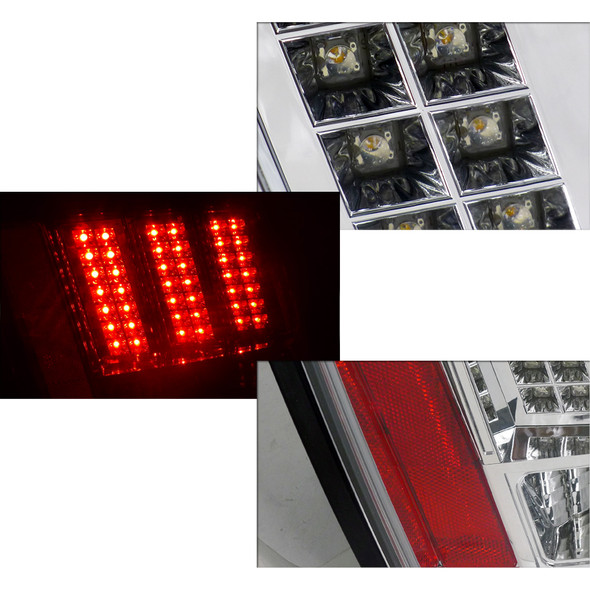 1999-2004 Ford Mustang LED Tail Lights (Chrome Housing/Clear Lens)