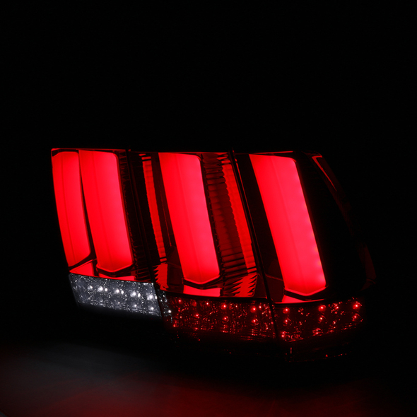 1999-2004 Ford Mustang LED Sequential Tail Lights (Chrome Housing/Red Smoke Lens)