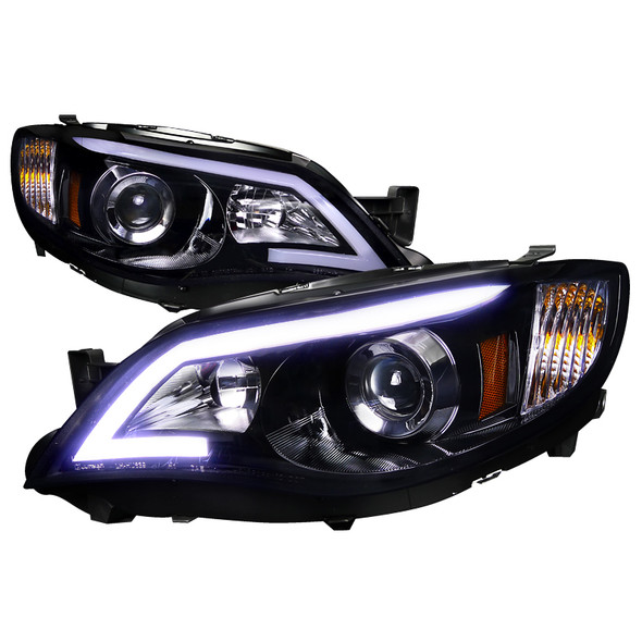 2008-2014 Subaru Impreza WRX/Outback LED DRL Projector Headlights (Glossy Black Housing/Smoke Lens)