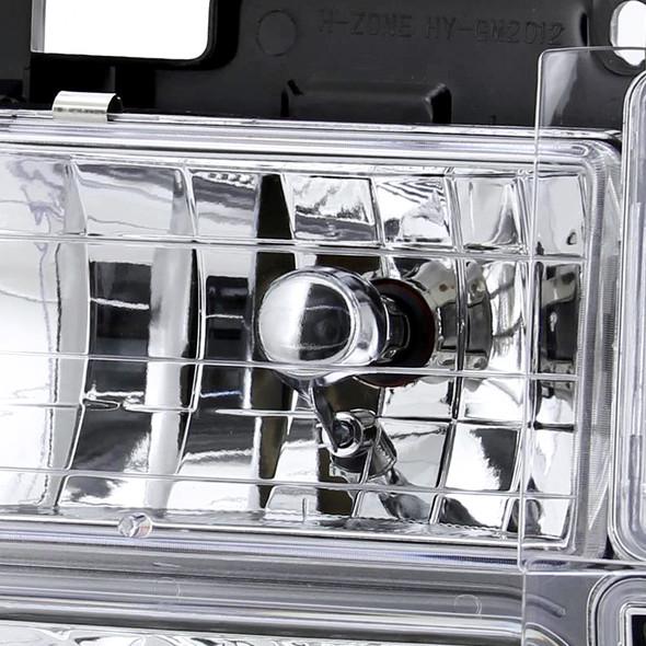 1994-1998 Chevrolet Silverado 1500/2500/3500/Tahoe/Suburban/C10 Headlights w/ Bumper Lights (Chrome Housing/Clear Lens)