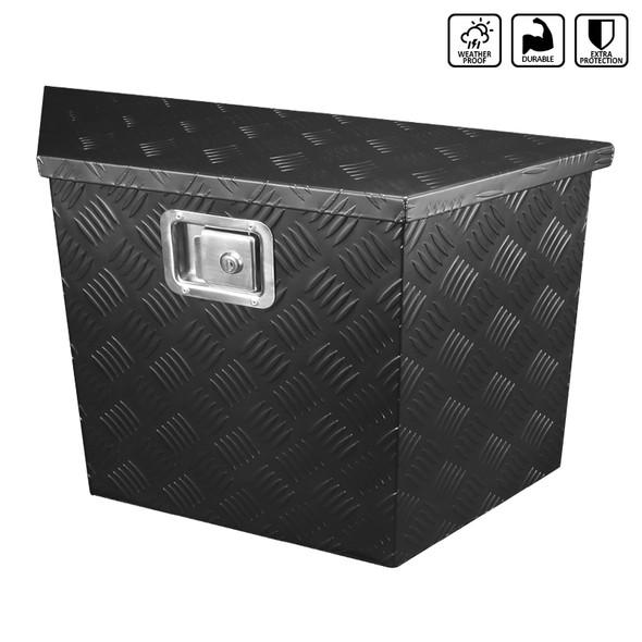 "15~28"" Heavy Duty Aluminum Tool Box Truck Pickup Trailer Storage w/ Lock & Keys (Black)"