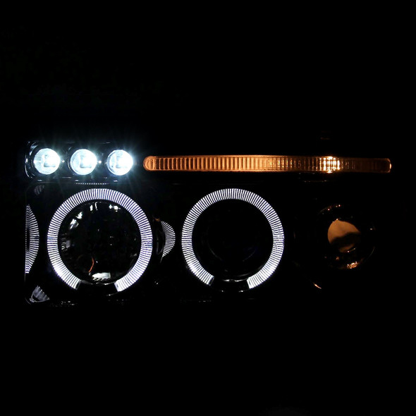 1994-2001 Dodge RAM Dual Halo Projector Headlights w/ LED DRL & H1 Bulbs (Glossy Black Housing/Smoke Lens)