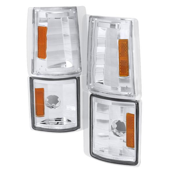 1994-1998 GMC C10 Sierra/Yukon/Suburban Corner Lights w/ Amber Reflectors (Chrome Housing/Clear Lens)