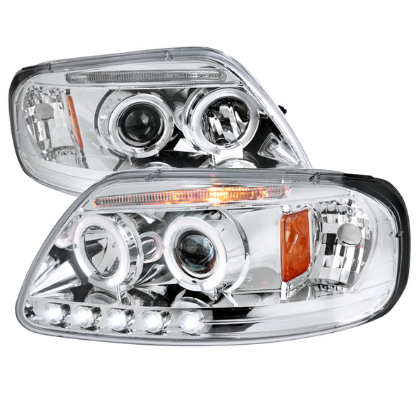 1997-2003 Ford F-150 Dual Halo LED Projector Headlights w/Amber Reflectors (Chrome Housing/Clear Lens)