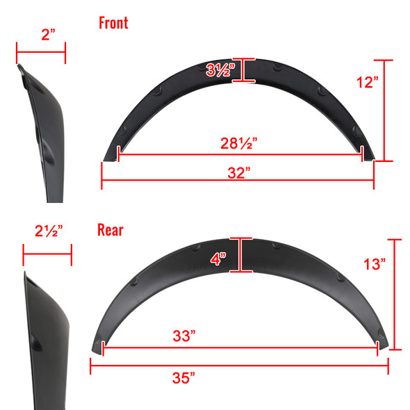 Universal 4PC Set Extra Wide Body Wheel Fender Flares