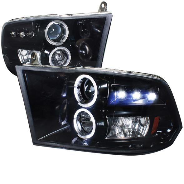 2009-2019 Dodge RAM 1500/2500/3500 Projector Headlights w/ LED DRL & H1 Bulbs (Glossy Black Housing/Smoke Lens)