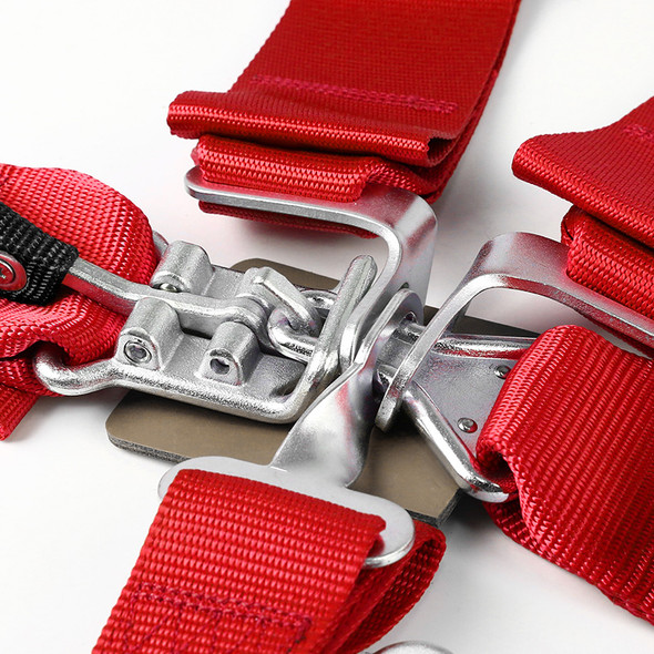 Universal 5-Point Nylon Straps Latch & Link Safety Belt Racing Harness (Red)