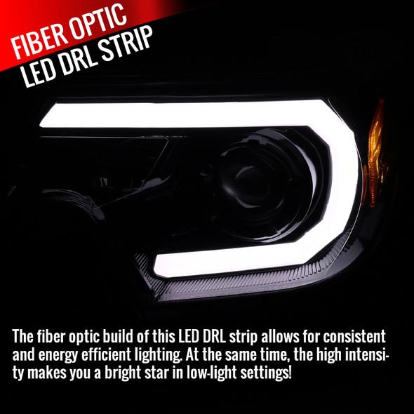 2012-2015 Toyota Tacoma JDM Style Projector Headlights w/ LED DRL Bar & H7 Bulbs (Jet Black Housing/Clear Lens)