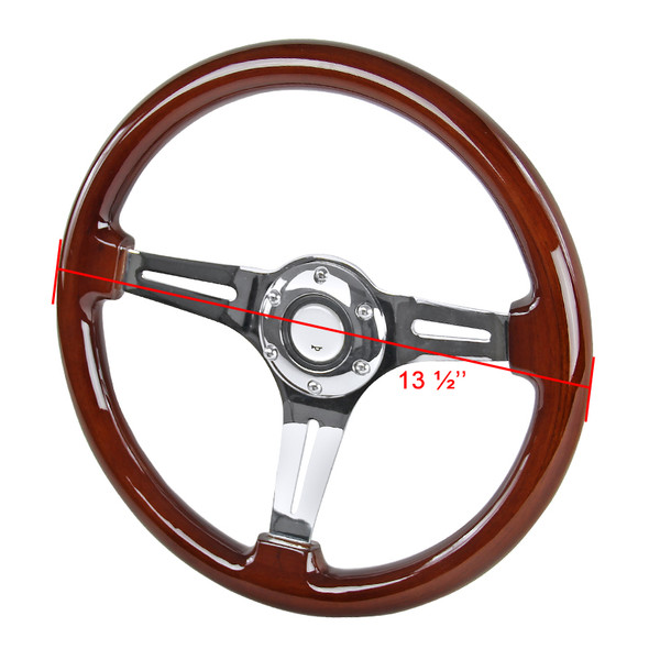 "340mm Chrome 3-Spoke 1.75"" Deep Dish Classic Wooden Steering Wheel"