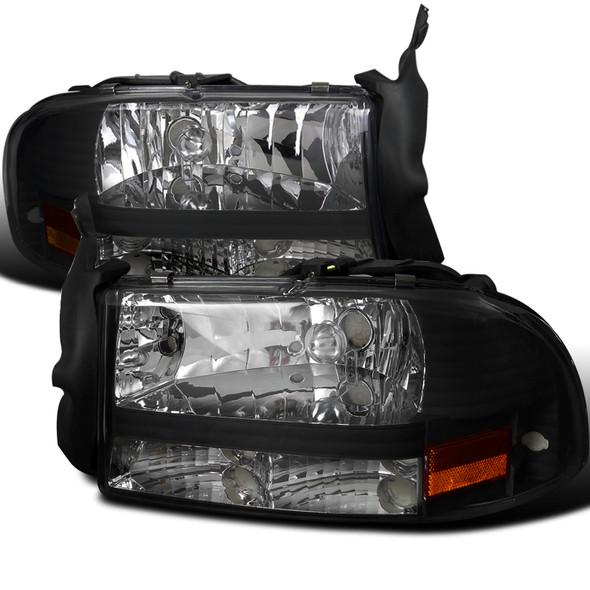 1997-2004 Dodge Dakota/ 1998-2003 Durango Crystal Headlights (Matte Black Housing/Clear Lens)