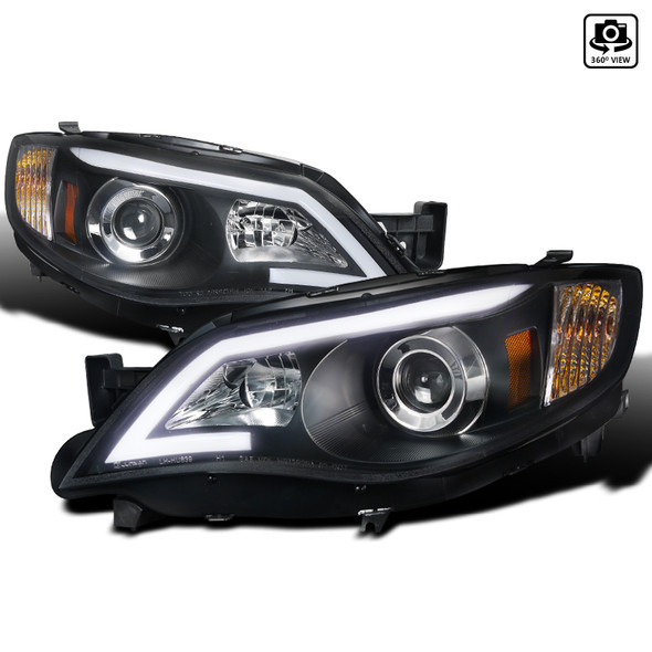 2008-2014 Subaru Impreza WRX/Outback LED DRL Projector Headlights (Matte Black Housing/Clear Lens)