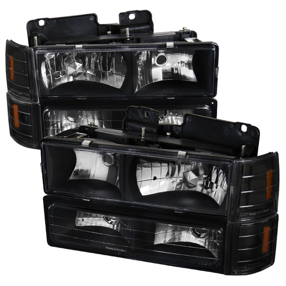 1994-1998 GMC C10/Sierra/Suburban/Yukon Factory Style Headlights w/ Bumper & Corner Lights (Matte Black Housing/Clear Lens)