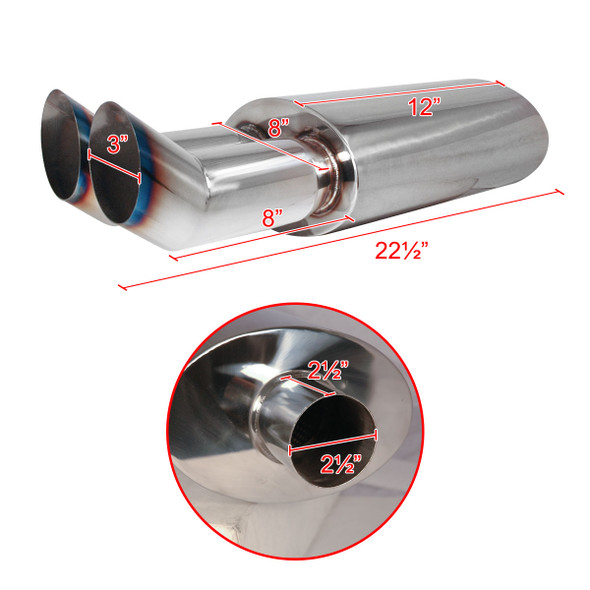 "Universal DTM Style 2.5"" Inlet/3"" Outlet Stainless Steel Exhaust Muffler w/ Dual Burnt Tips"