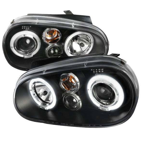 1999-2006 Volkswagen Golf Mk4 GTI/R32 Cabrio Dual Halo Projector Headlights (Matte Black Housing/Clear Lens)