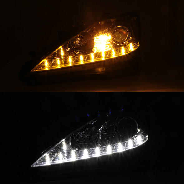 2006-2009 Lexus IS250/IS350 SMD LED Light Strip Projector Headlights (Chrome Housing/Clear Lens)