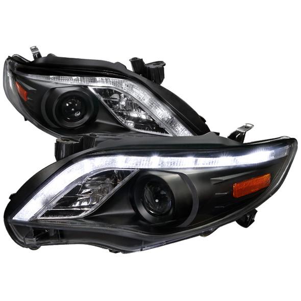 2011-2013 Toyota Corolla LED DRL Projector Headlights w/ H1 Bulbs (Matte Black Housing/Clear Lens)