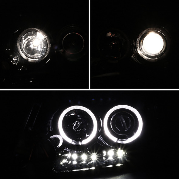 2004-2008 Ford Lincoln F-150/Mark LT Pearl Black Housing Clear Lens Dual Halo Projector Headlights w/ LED DRL