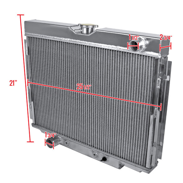 """1967-1970 Ford Mustang Aluminum 3-Row Cooling Radiator (Left Side 24"""")"""