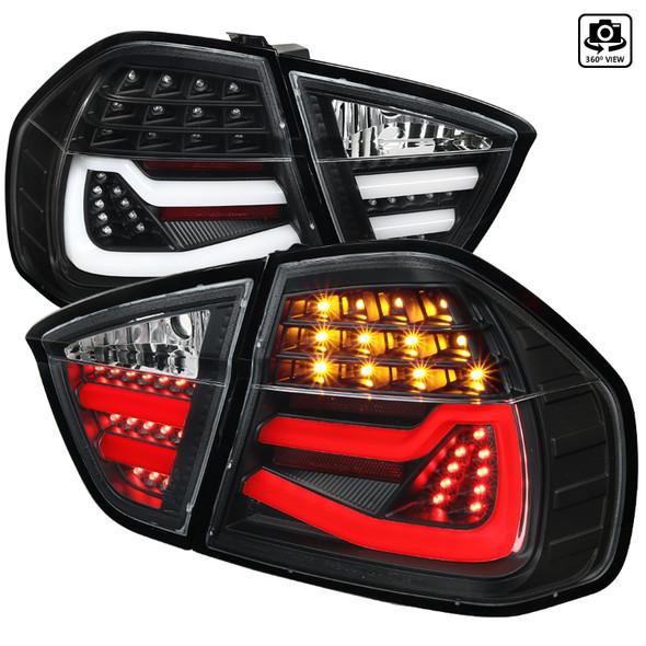 2005-2008 BMW E90 3 Series Sedan LED Tail Lights (Matte Black Housing/Clear Lens)