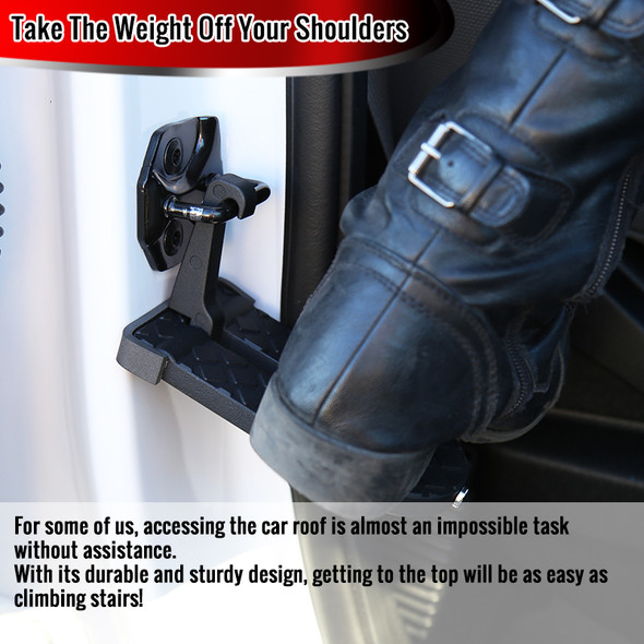Universal Roof Access Folding Latch Hook Foot Step Pedal Ladder Assist - 2 PCS