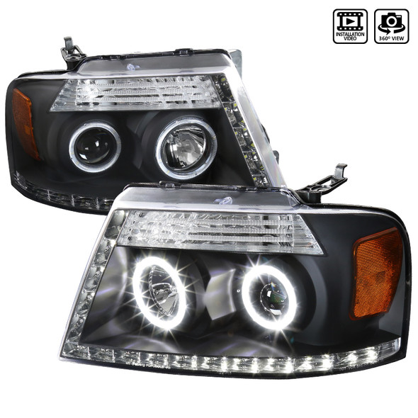 2004-2008 Ford F-150 R8 Style Dual Halo Projector Headlights (Matte Black Housing/Clear Lens)