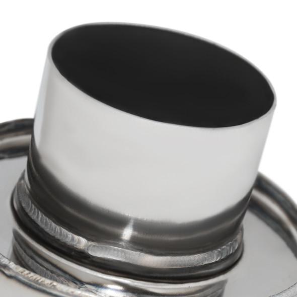"Universal 4"" Round Tip 2.5"" Inlet Stainless Steel Spiral Flow Exhaust Muffler w/ Silencer"