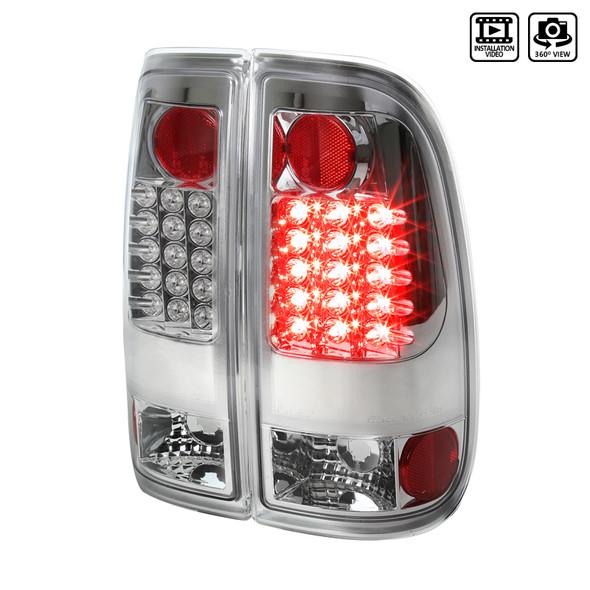 2008-2016 Ford F-250/F-350/F-450/F-550 Super Duty LED Tail Lights (Chrome Housing/Clear Lens)